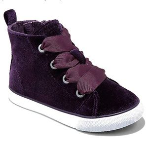 Toddler girls Jory Velvet high top purple sneakers
